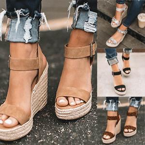 Womens Summer Party Platform Wedge Espadrilles Ankle Strap Sandals Beach Shoes