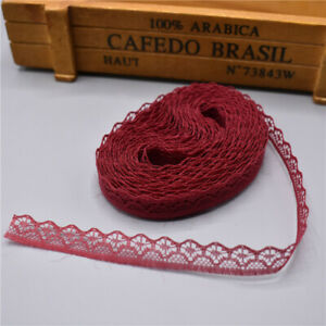 5 yards Lace Ribbon Tape Width 14MM Trim Fabric DIY Embroidered lace (Wine red)
