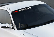 V8 SPORT windshield Vinyl Decal sticker racing speed car emblem logo WHITE/RED