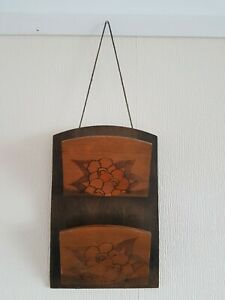 Vintage 1960s 1970s Carved Wooden Wall Hanging Letter Holder Retro Office