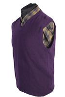 Vintage Jumper V Neck  Sweater Retro Casual Winter UK 90s M Purple - IL1706