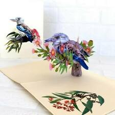 Handmade Australian Native Laughing Kookaburra Bird 3D Pop Up Greeting Card