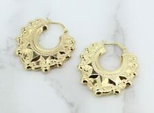 9ct Yellow Gold Victorian Style Gypsy Creole Earrings