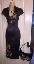 KAREN MILLEN SIZE 8 vintage oriental dress silk black charcoal matching handbag