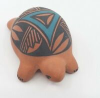 Small Painted Navajo Native American Red Clay Pottery Turtle Signed I.M.P Acoma,