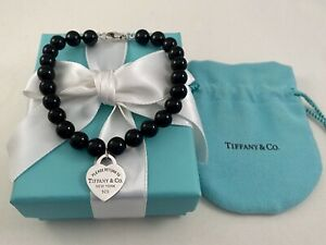 """Tiffany & Co Heart Tag In Silver On A Black Onyx Bead Bracelet. 8.25"""". Beads 8mm"""