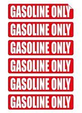 6x Gasoline Only Vinyl Decals / Gas Stickers / Labels Fuel Door Label Emblems