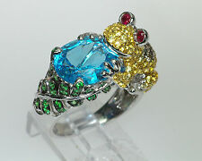 18k CHAMPAGNE DIAMOND RUBY SAPPHIRE BLUE TOPAZ GREEN GARNET UNIQUE FROG RING