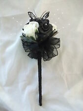 BLACK & IVORY BRIDESMAID / FLOWERGIRL WAND, WEDDING FLOWERS