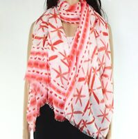 Echo Womens Scarves Red One Size Floral Printed Fringed-Trim Scarf $59 420