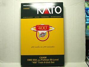 "KATO N SCALE C&NW EMD E8A & PULLMAN BI-LEVEL ""400"" TRAIN 6-UNIT SET 106-104-DCC"