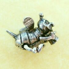 Vintage English Silver Movable Charm Bumble Bee with Top Hat ~ Cute!