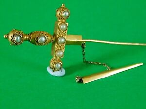 Unusual ANTIQUE 18ct GOLD PEARL BROOCH