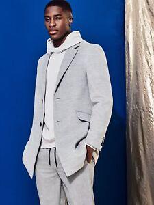 BURTON MENSWEAR LONDON Mens Grey Faux Wool Overcoat Winter Warm Coat Jacket Top