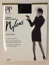 Vintage Rare Pretty Polly Seamed Nylon Stockings Black Size 2 Goodwood Revival