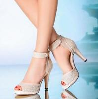 Womens Peep Toe Stilettos Wedding Shoes Ankle Strap High Heels Sandals Party Sz