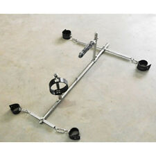 Stainless Steel frame Spreader Bar Hand Ankle Collar Cuffs Restraint Slave Plug