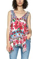 Desigual Sleeveless Floral Cecil Vest Top XS-XXL UK 8-18  RRP �54 Wavy Hem