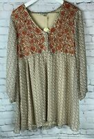 NWT JODIFL Womens' Beige Rust Embroidered Patterned Tunic Top Shirt Size Small
