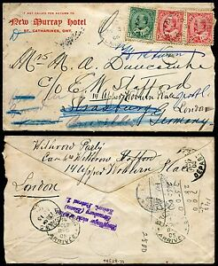 *p27 - ST CATHARINES 1906 Cover to Germany. FORWARDED to England