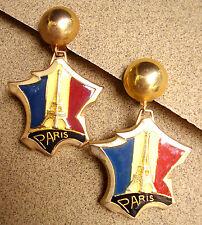 """1943 /  """"J'AIME LA FRANCE"""" BOUCLES D'OREILLE  CLIPS / METAL DORE EMAILLE"""