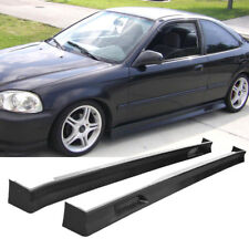 FOR 96-00 HONDA CIVIC 3DR ZERO STYLE SIDE SKIRT PANEL 2PCS UNPAINT BLACK PP