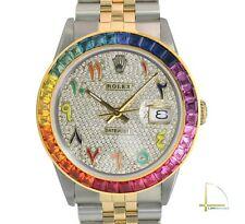 Rolex Datejust Mens 36mm Two-Tone Diamond Pave Dial Arabic Numbers Rainbow Bezel