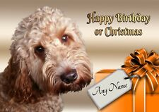 Personalised Cockapoo Birthday or Christmas Card + blank textured white insert