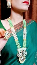 Indian AD CZ Kundan Necklace Gold Plated Tone Bollywood Bridal Green Jewelry Set