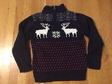 Gymboree Zip Reindeer Christmas Holiday Sweater Boy's 4 XS Navy Nordic Fair Isle