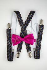 Hot Pink Bow Tie Small Colored Skulls Suspender Combo Set Wedding SDBT041