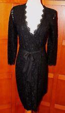 NEW Diane von Furstenberg DVF Julianna 3/4 Slv Wrap Black Lace Dress 10 M L $498