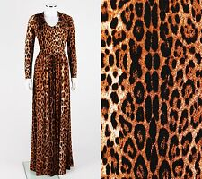 ROBERTO CAVALLI Leopard Animal Print Long Sleeve V Neckline Maxi Dress Size L