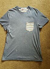 Topman Grey Short Sleeved TShirt With Orange Pocket Size Small V Neck