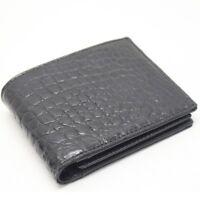 Genuine Crocodile Alligator Skin Leather Bifold Wallet,, Black GENUINE Alligator