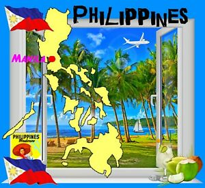 PHILIPPINES MAP & FLAG, NOVELTY SOUVENIR COASTERS  - EASY CLEAN / NEW / GIFTS