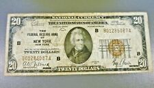 1929 $20 Federal Reserve Bank Of New York Note B01285087A