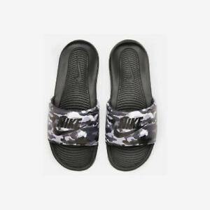 Nike VICTORI ONE Mens Camo Print Black White Grey Fog CN9678-001 Slides Sandals