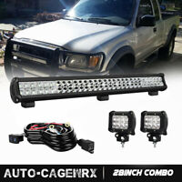 "28inch Straight LED Light Bar + 2x 4"" LED Fog Lights Pods For Truck SUV ATV 30"