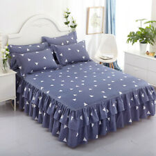 Floral Bed Skirt /Pillowcase Double Dust Ruffle Elegant Bed Sheet Bedspread New