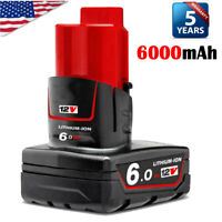 M12 For Milwaukee Lithium ion XC 6.0 Extended Capacity Battery 6.0Ah 48-11-2460
