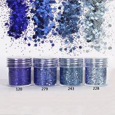 4 Pot/Set Blue Color Glitter Loose Powder Nail Face Eye Shadow Tattoo Body Art