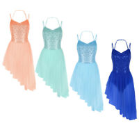 Women's Sleeveless Dance Leotard Dress Tutu Skirt Gymnastics Ballet Dancewear