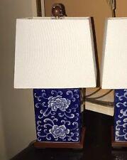 """1 Rare """"Signed"""" Ralph Lauren Lamp Blue White Mandarin Flower Porcelain Finish"""