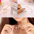 Girl Lady Fashion Style Gold Rhinestone Love Heart Bangle Cuff Bracelet Jewelry