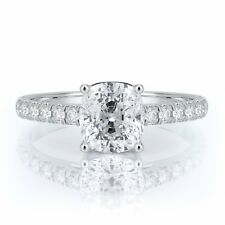 1.5 Ct Cushion Natural Diamond Solitaire Engagement Ring 14K White Gold
