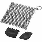 Cast Iron Cleaner With Durable Plastic Pan Grill Scrapers, 7 X7 Inch Stainless