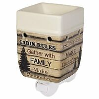 Cabin Rules Rustic Wood Outdoor Design Cream Ceramic Stone Plug-In Warmer