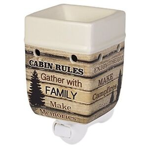 Cabin Rules Rustic Wood Outdoor Design Cream Ceramic Stone Plug-In Warmer