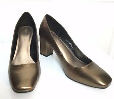 M&S Marks Women Dark Gold Real Leather Block Heel Court Shoes Party BNWT Size 7
